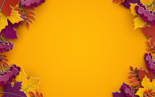 Autumn background, tree paper leaves, yellow backdrop, design for fall season sale banner, poster or thanksgiving day greeting card, festival invitation, paper cut out art style, vector