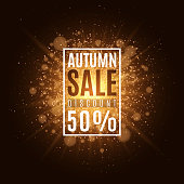 Autumn background with banner and text. Autumn sale. Abstract golden bright flash of light. Orange flare bokeh. Background, banner for your project