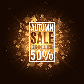 Autumn background with banner and text. Autumn sale. Golden leaves of maple. Abstract golden bright flash of light. Orange flare bokeh. Background, banner for your project