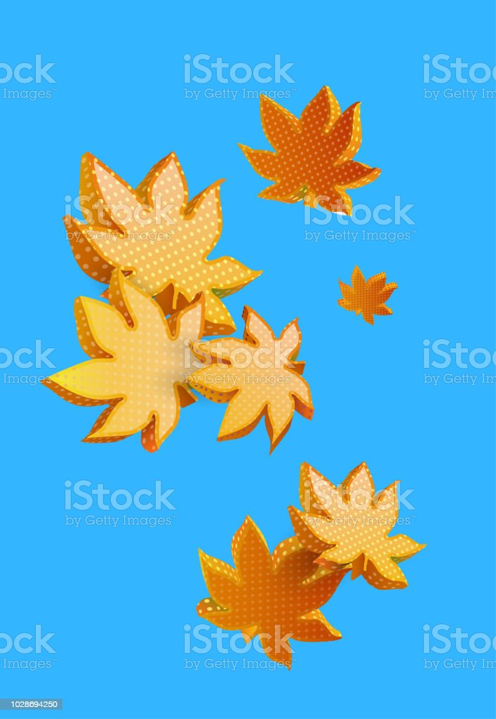 Autumn Background With Beautiful Maple 3d Leaves Stock Illustration