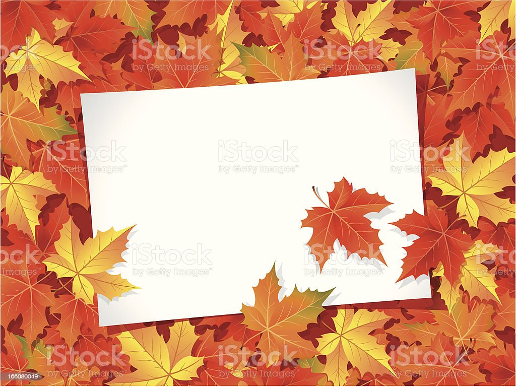 Autumn Background with blank paper royalty-free stock vector art