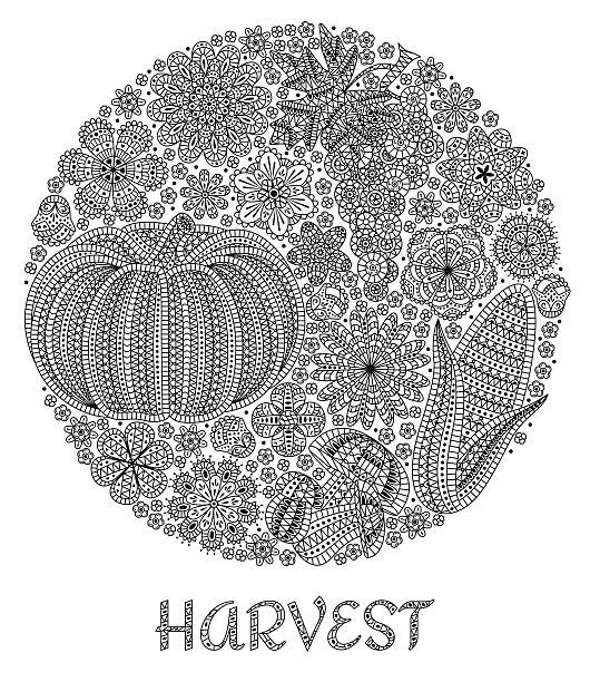 autumn background with creative vegetables and flowers, decorative floral background - gehäkelte lebensmittel stock-grafiken, -clipart, -cartoons und -symbole