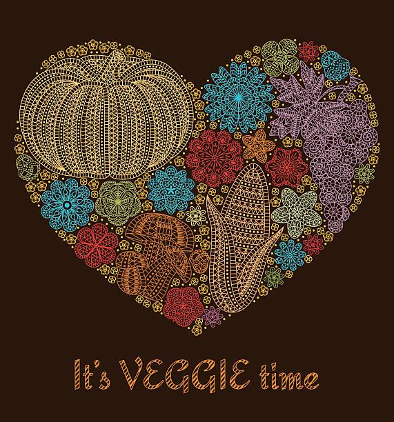 autumn background with creative vegetables - gehäkelte lebensmittel stock-grafiken, -clipart, -cartoons und -symbole