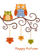 Vector autumn background with cute owls. Happy autumn and harvest.