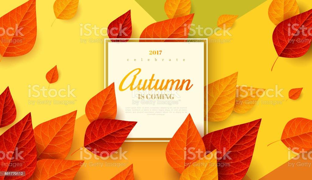 フレームと秋の背景 ベクターアートイラスト