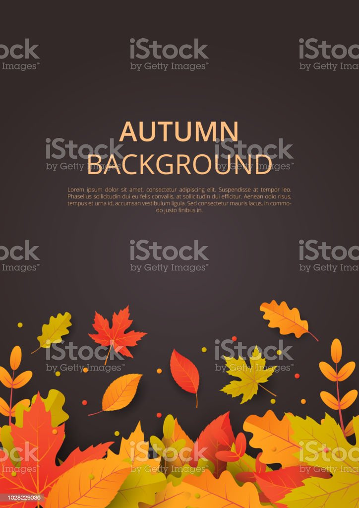 Autumn background with leaves. Can be used for poster, banner, flyer, invitation, website or greeting card. Vector illustration vector art illustration