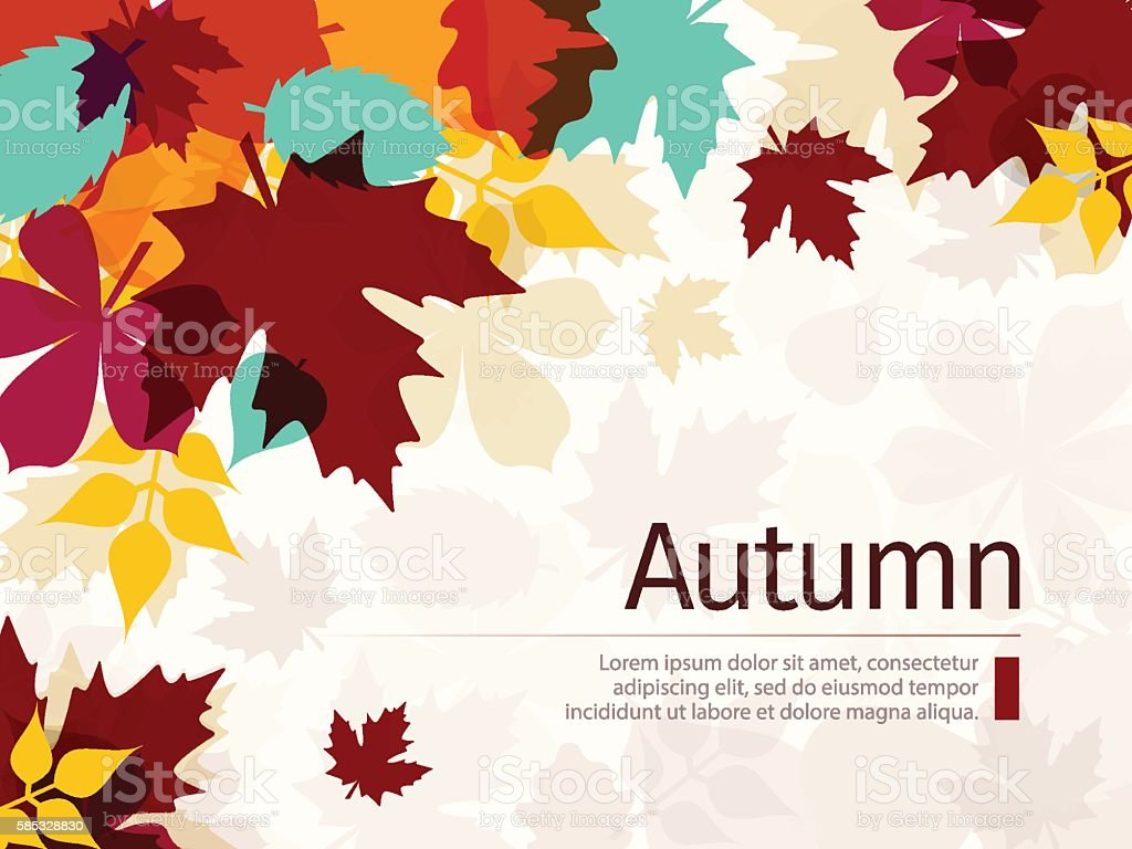 Autumn Background with Leaves vector art illustration