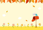 Autumn,leaves,flower,yellow,cute,background,mail,mailbox,bird,grass,nature,background,design,template