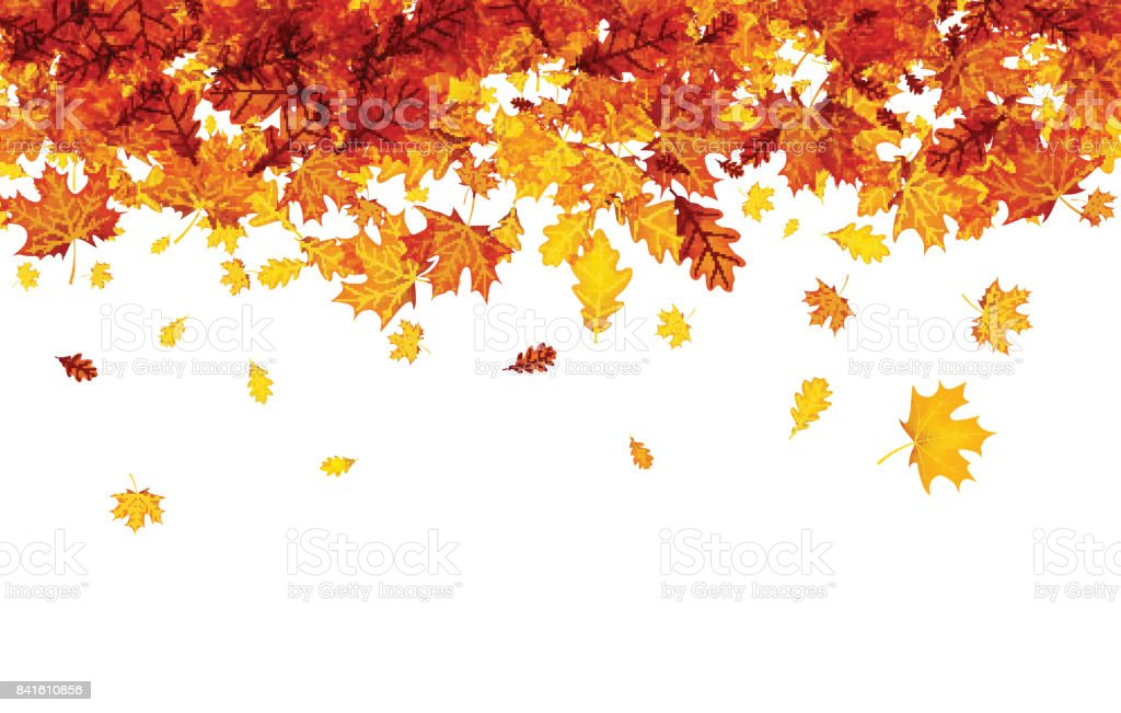 Autumn background with orange leaves. vector art illustration
