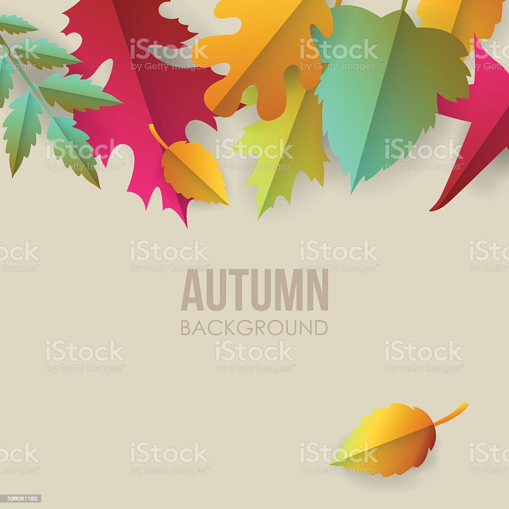 Autumn background with paper fall leaves vector art illustration