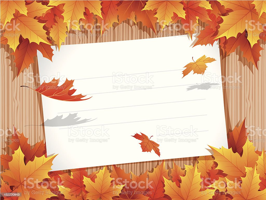 Autumn Background with paper sheet vector art illustration