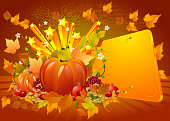 Self illustrated beautiful autumn background with Glossy panel and stars.Each element in a separate layers.Very easy to edit vector file.