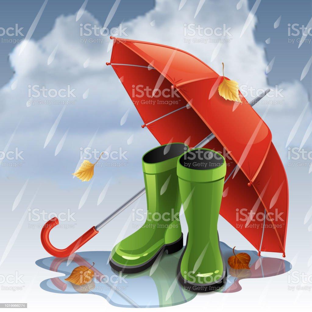 Et Automne En Avec Parapluie Fond Caoutchouc Bottes Rouge PilwOkXTZu