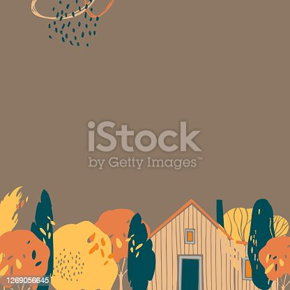 Hand drawn autumn background with trees and house. Vector sketch illustration.