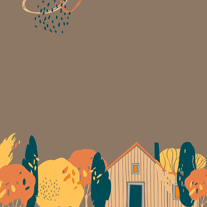 Autumn background with trees and house.