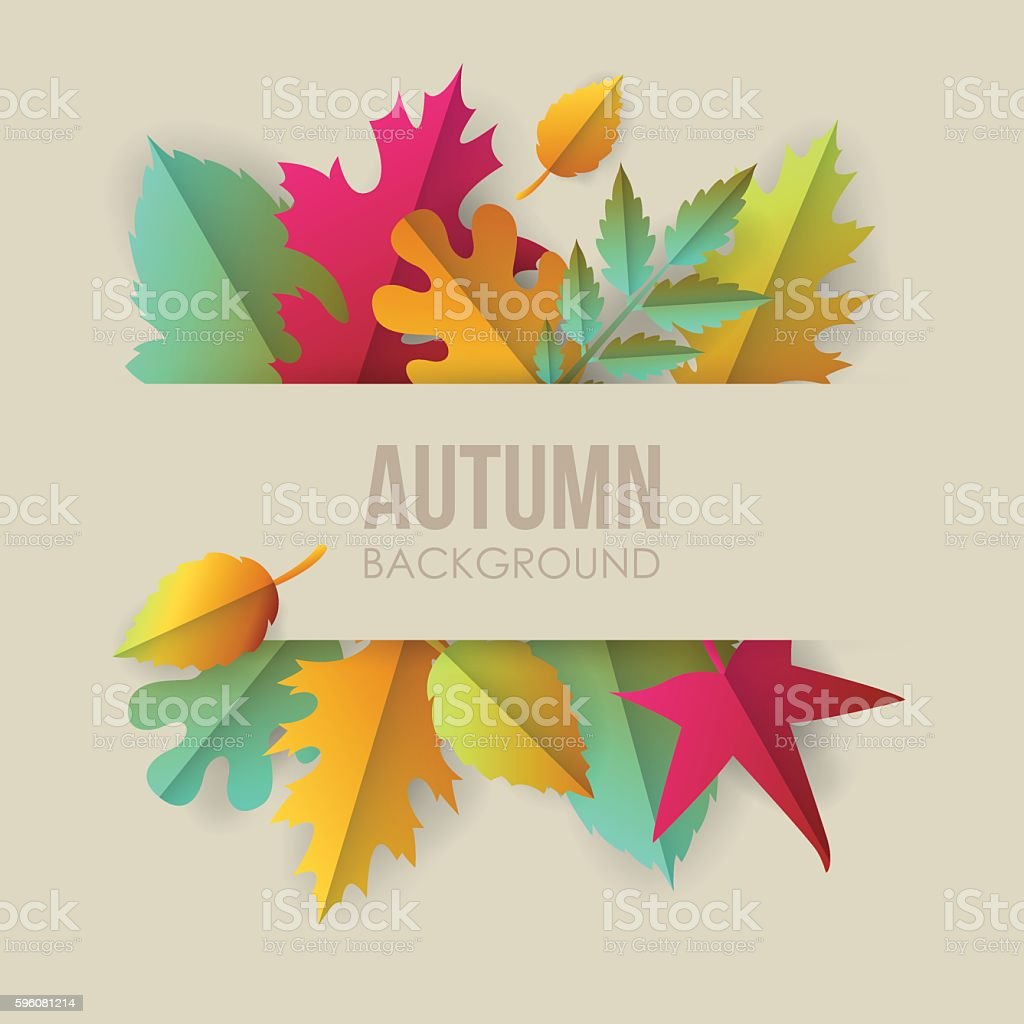 Autumn banner background with paper fall leaves vector art illustration