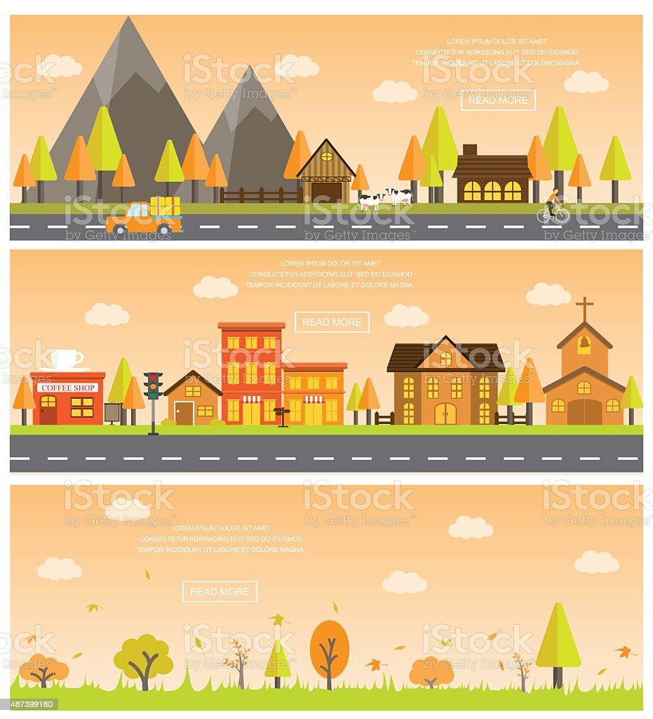 autumn banner vector art illustration