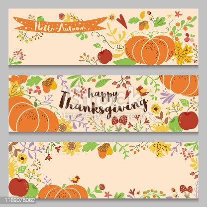 Autumn banners set Horizontal borders Three templates in cartoon style Hand drawn pumpkin fall leaves flowers floral elements apple bird mushroom Thanksgiving design Places text Vector illustration.