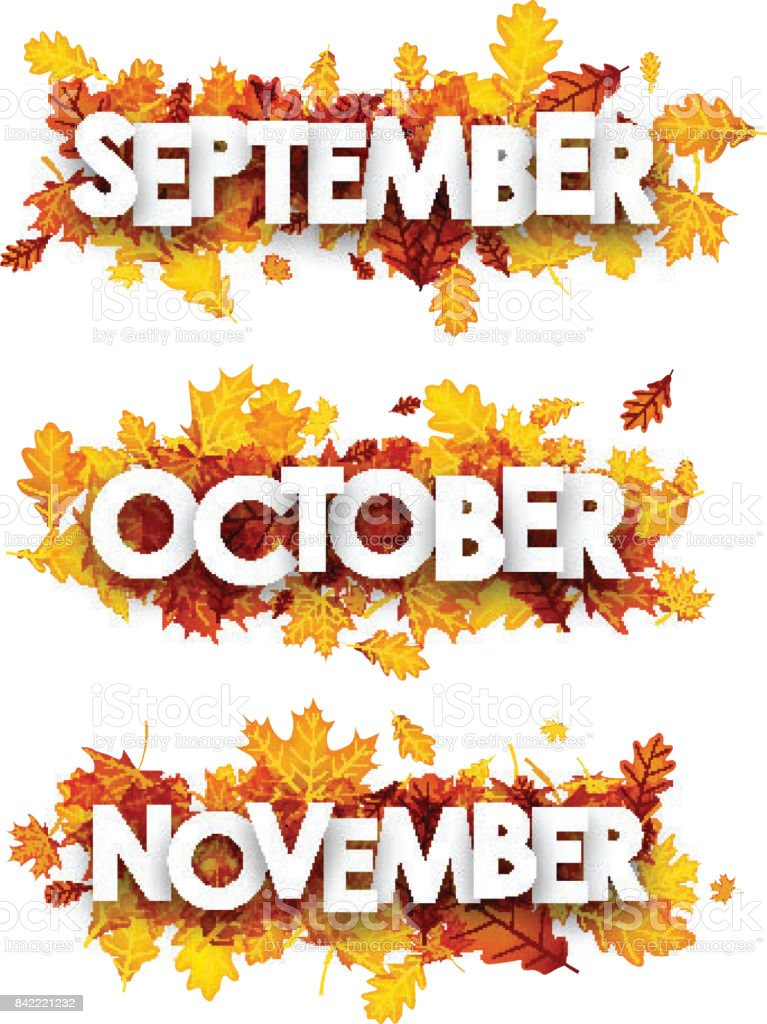 Autumn banners with orange leaves. vector art illustration