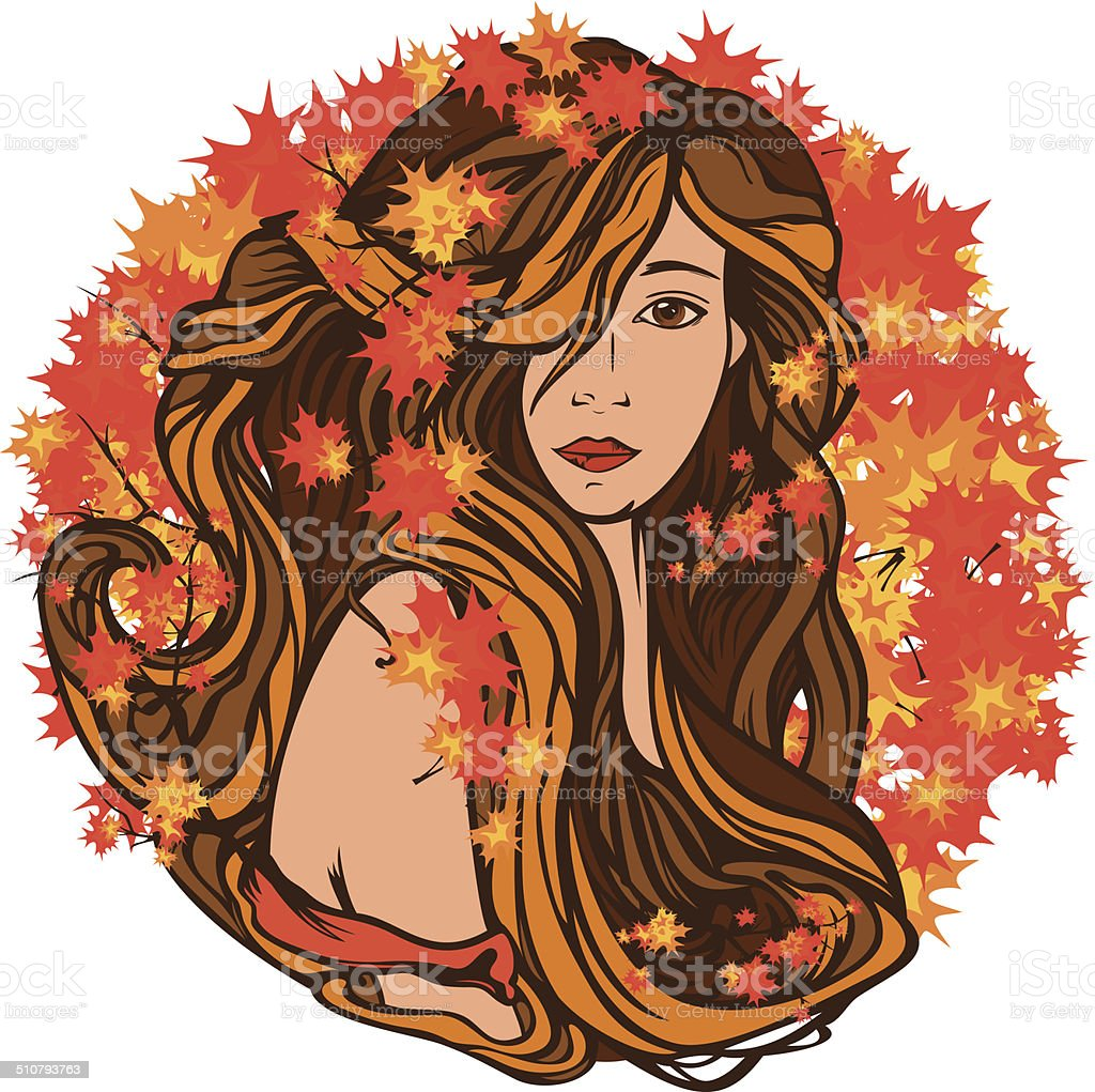 autumn beauty vector art illustration