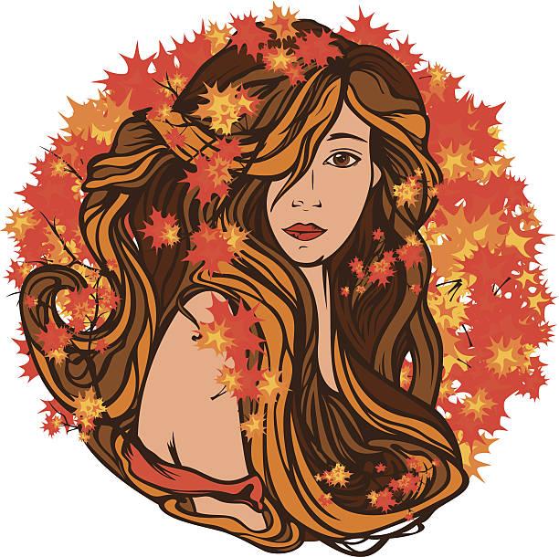 autumn beauty vector art illustration