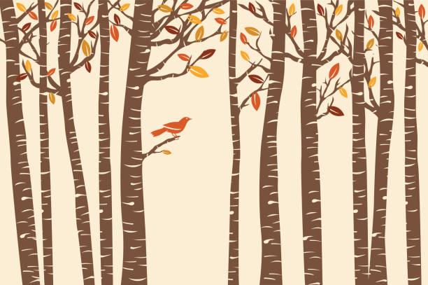 stockillustraties, clipart, cartoons en iconen met autumn bird perch - vogel herfst