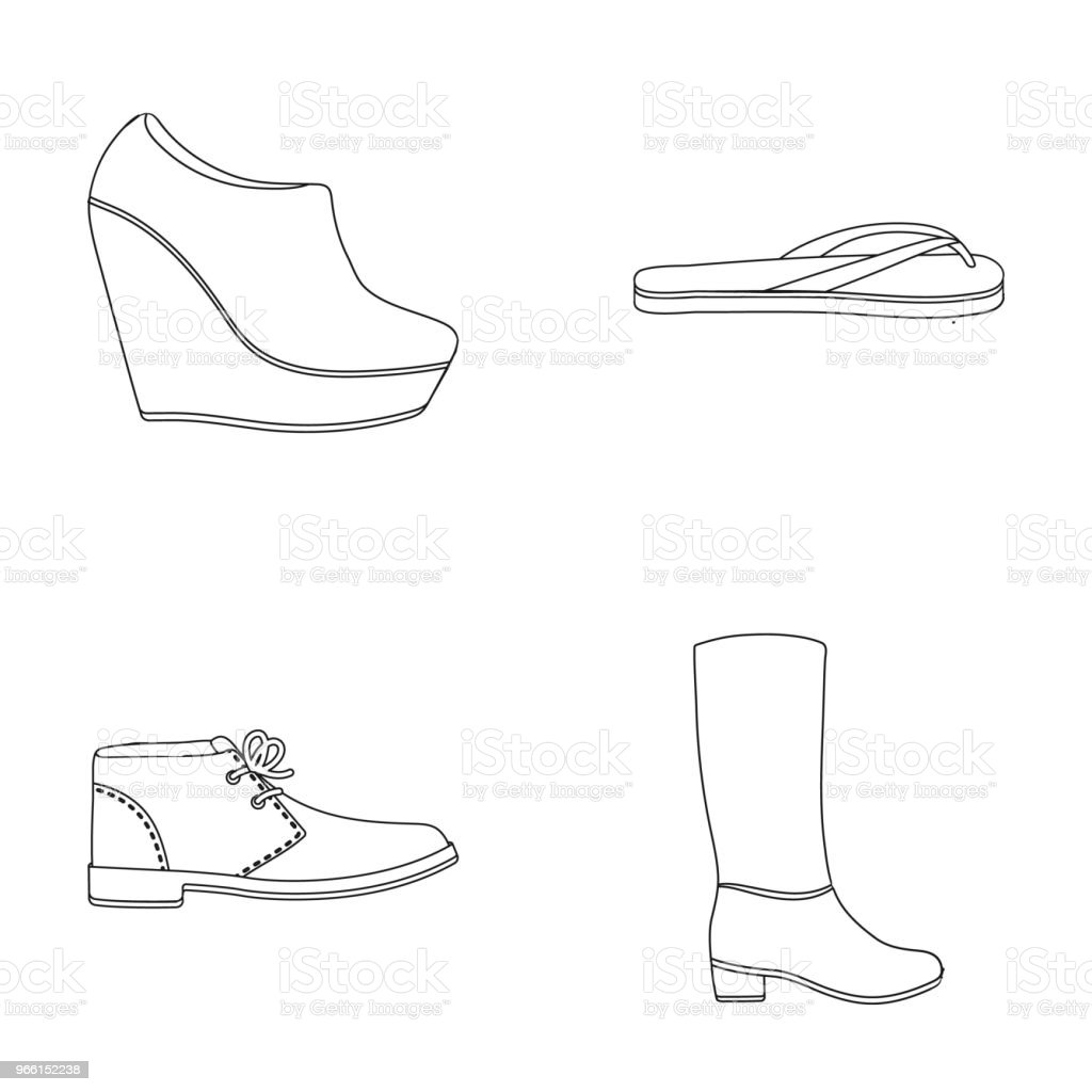Autumn black shoes on a high platform, flip-flops green for relaxation, sandy men autumn shoes, high brown boots. Shoes set collection icons in outline style vector symbol stock illustration web. - Royalty-free Adulto arte vetorial