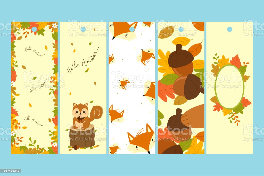 autumn bookmark template vector set stock vector art more images