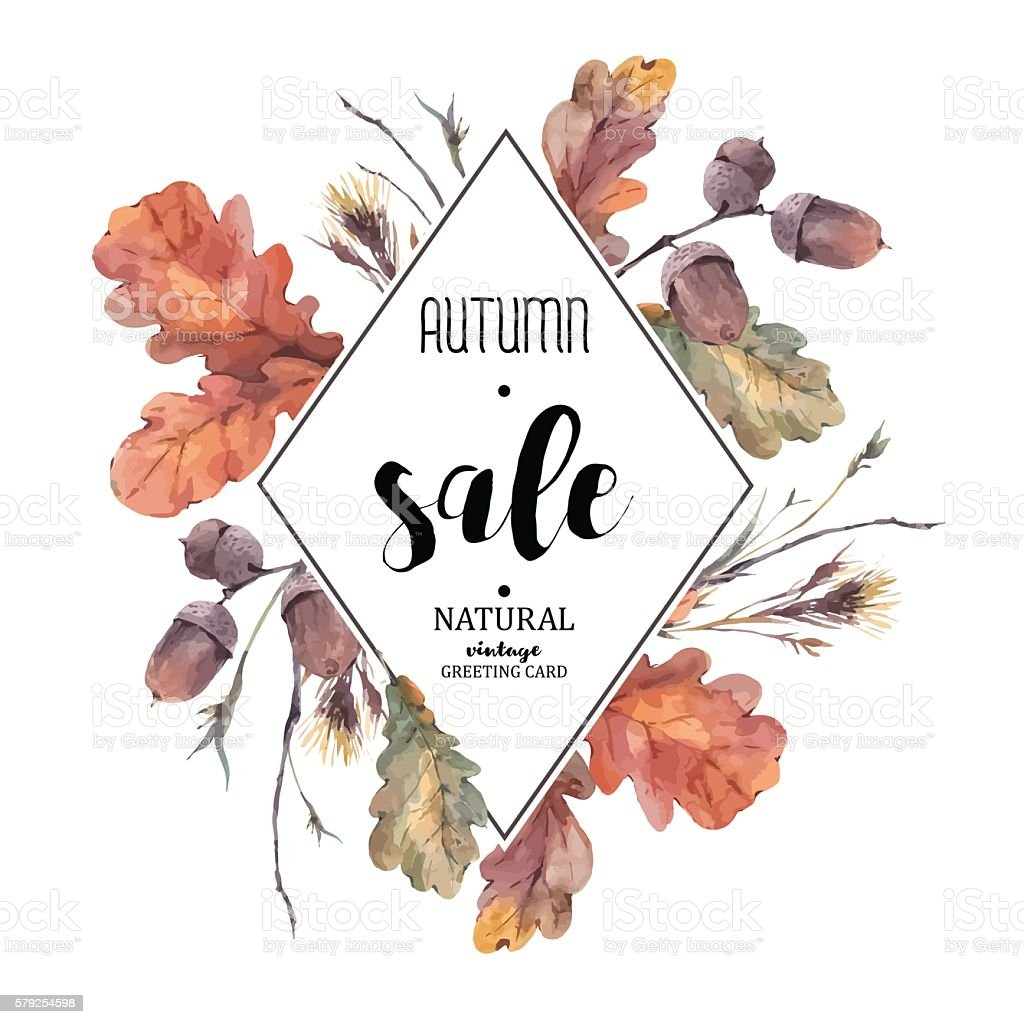 Autumn bouquet of twigs, yellow oak leaves vector art illustration