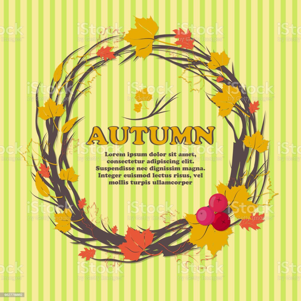Autumn Bright Background With Yellow Leaves And Place For Your Place