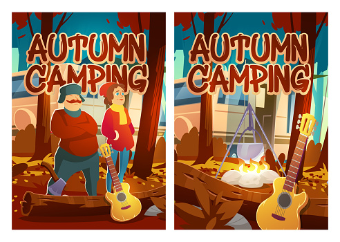 Autumn camping cartoon posters, touristic vacation