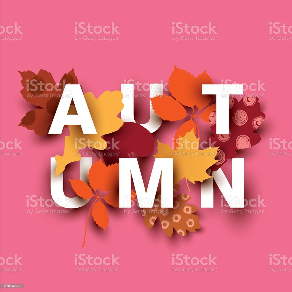 Autumn card with different plant elements on pink background. ベクターアートイラスト