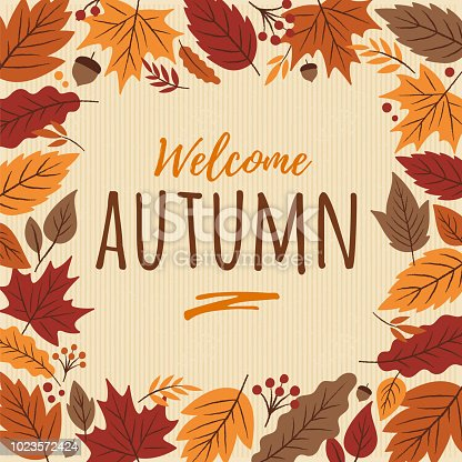 Autumn card with leaves frame. - Illustration