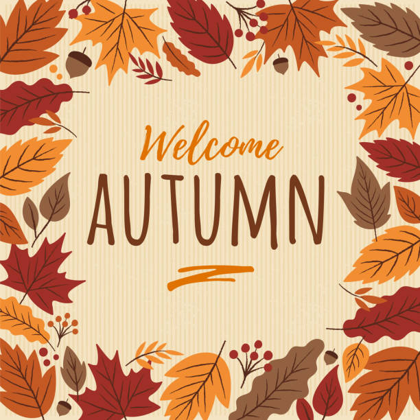 bildbanksillustrationer, clip art samt tecknat material och ikoner med hösten kort med lämnar ram. - falla