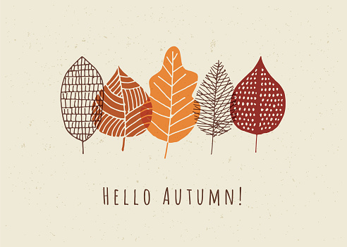 Autumn card with leaves. Stock illustration