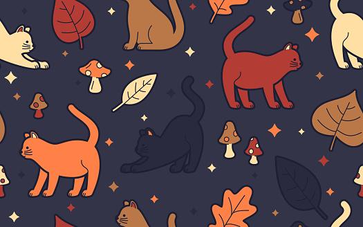 Autumn Cats Seamless Background Pattern