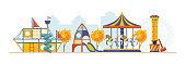 Autumn children playground. Amusement kids park with attractions