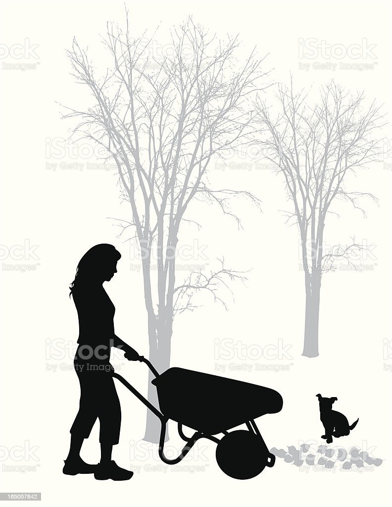 Autumn Chores Vector Silhouette royalty-free stock vector art