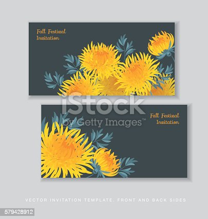 autumn chrysanthemum flower card template. golden-daisy floral vector illustration. decorative elegant brightly colored ornamental aster fall blossom.