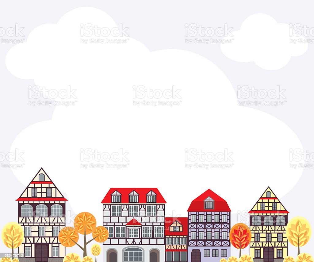 autumn city background – Vektorgrafik