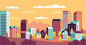 Autumn city landscape. Simple cityscape with buildings panorama. Cute houses, hills and trees with yellow leaves. Vector horizontal geometric outdoor background