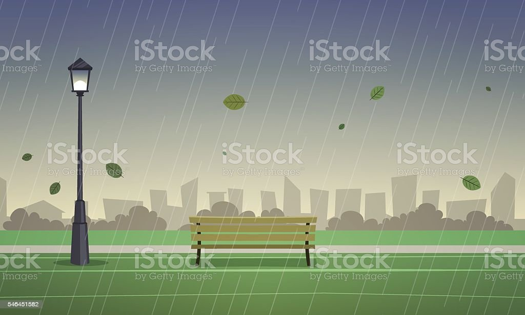 Autumn City Park vector art illustration