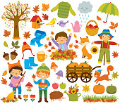 Autumn clipart set with kids, autumn leaves, forest animals and other symbols of fall.