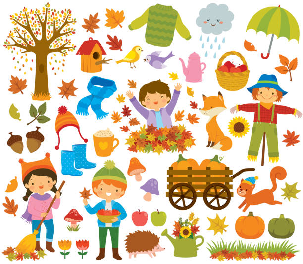 Autumn clipart set with kids and animals vector art illustration