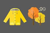 autumn clothes set items the fall acorn leaves tree rain clouds cold weather red yellow colors coat raincoat parka vector illustration umbrella