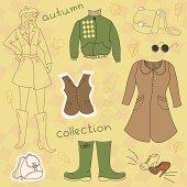Autumn clothes, vector set