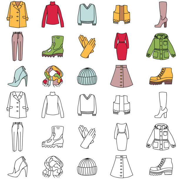 herbst kleidung symbole - parkas stock-grafiken, -clipart, -cartoons und -symbole