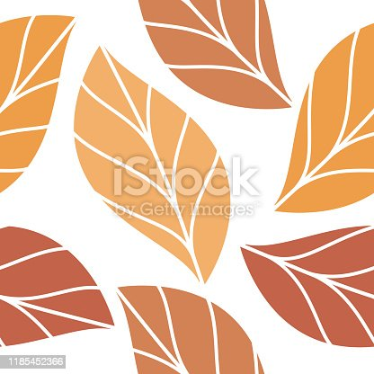 istock Autumn Colored Leaves Seamless Repeating Pattern Isolated Vector Illustration 1185452366