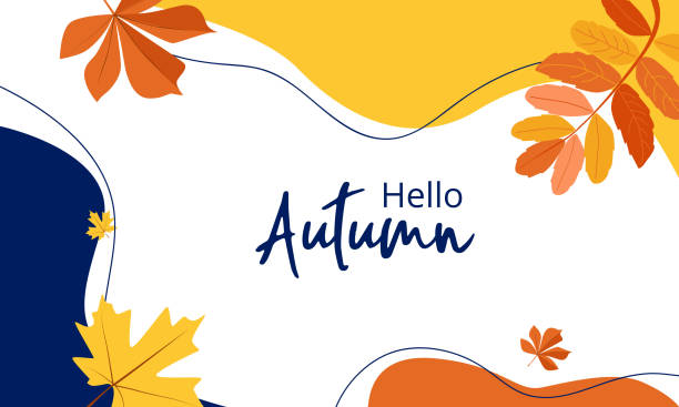 Autumn colorful abstract background in yellow and red colors with leaves Hello Autumn. Autumn colorful abstract background in yellow-red colors with leaves. Template For an advertising banner, for sales fall leaves stock illustrations