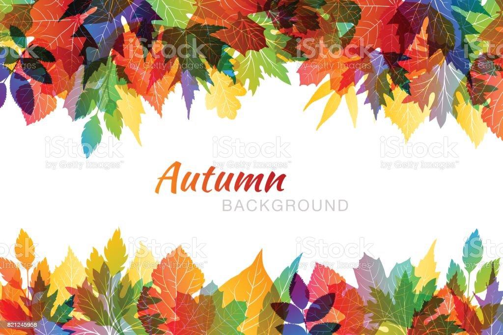 Im Herbst bunten Hintergrund mit verschiedenen Blättern – Vektorgrafik